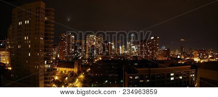 Panoramic View Of The Chicago Skyline Cityscape Or High Rise Skyscrapers At Night, Chicago, Il June