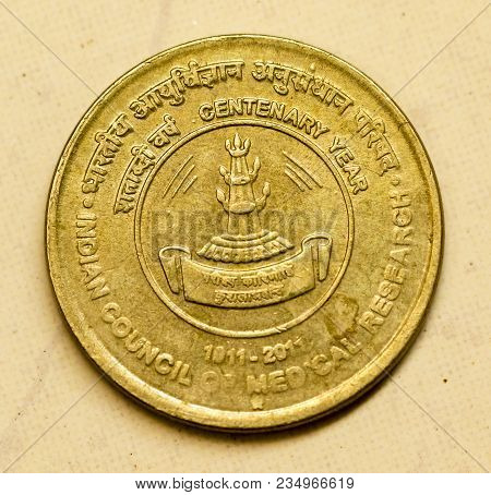 Closeup Of Indian Currency Coin Commemorating The Centenary Year Of  Indian Council Of Medical Resea