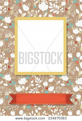 Floral Greeting Card. Graceful White And Blue Silhouettes Of Flowers And Plants. Yellow Frame For Cu