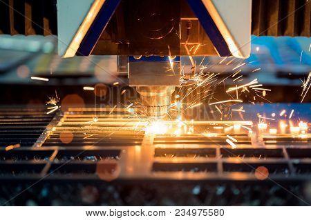 Laser Cutting Machine Cut A Metal Sheet By Cnc System