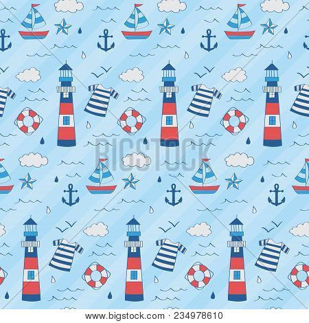 Nautical Kid Pattern With Lighthouse, Boat, Star, Anchor, Float. A Playful, Modern, And Flexible Pat