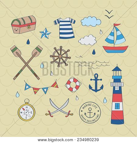 Nautical Sailor Graphic Set. A Playful, Modern, And Flexible Pattern For Brand Who Has Cute And Fun