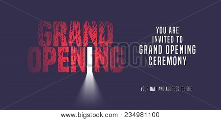 Grand Opening Vector Banner, Illustration, Invitation Card. Template Nonstandard Invite Design With