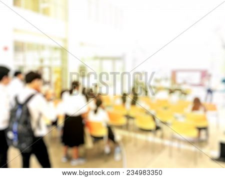 Blurred Image Of Graduate Student Playing Jazz Music At University Or High School When Audiences Sta