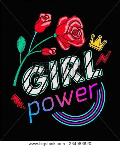 Girls Power Slogan Print Embroidery T-shirt. Feminist Slogan, Rock Print. Fashionable Slogan With Ro