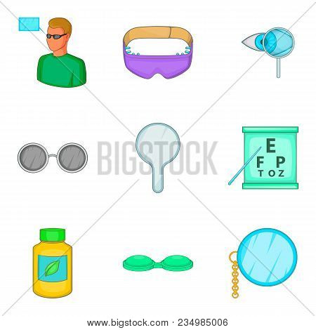 Improve Vision Icons Set. Cartoon Set Of 9 Improve Vision Vector Icons For Web Isolated On White Bac