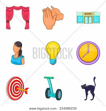Rally Icons Set. Cartoon Set Of 9 Rally Vector Icons For Web Isolated On White Background