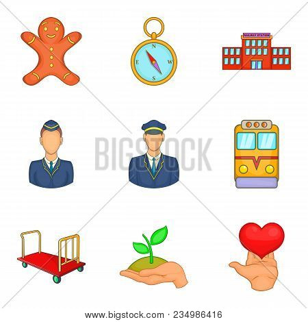 Summit Icons Set. Cartoon Set Of 9 Summit Vector Icons For Web Isolated On White Background