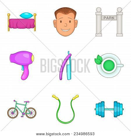 Collection Icons Set. Cartoon Set Of 9 Collection Vector Icons For Web Isolated On White Background