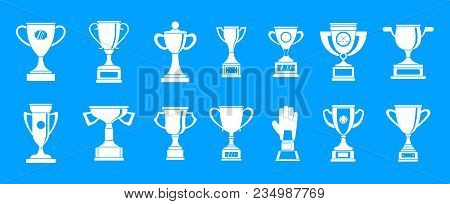 Trophy Cup Icon Set. Simple Set Of Trophy Cup Vector Icons For Web Design Isolated On Blue Backgroun