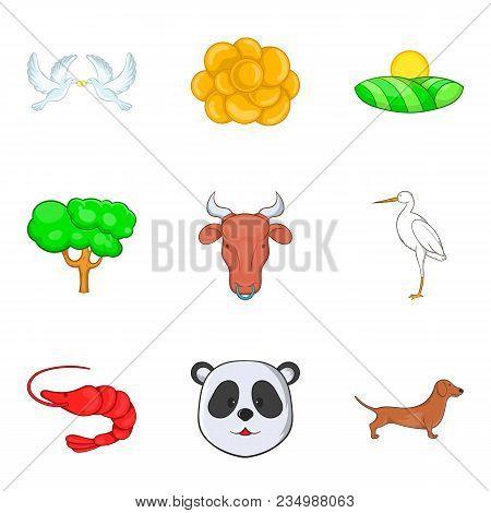 Fauna World Icons Set. Cartoon Set Of 9 Fauna World Vector Icons For Web Isolated On White Backgroun
