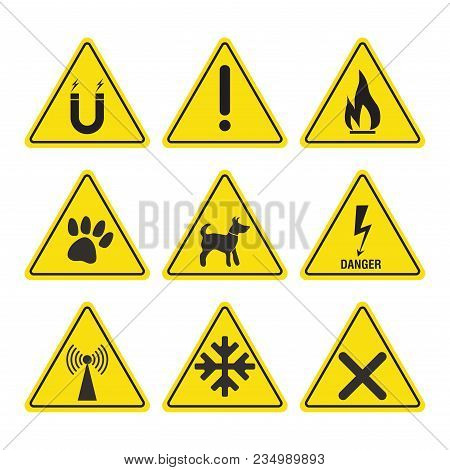 Danger Warning Signs, Attention Dangerous Places And Situations, Vector Image
