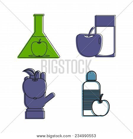 Object And Apple Icon Set. Color Outline Set Of Object And Apple Vector Icons For Web Design Isolate