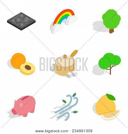 Life vitality icons set. Isometric set of 9 life vitality vector icons for web isolated on white background poster