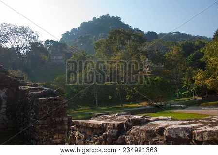 The Landscape Of The Mountains. The Famous Archaeological Complex. Mayan Ruins In Palenque, Chiapas,