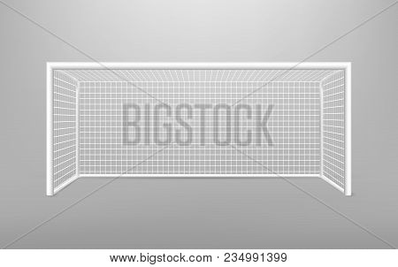 Football Soccer Goal Realistic Sports Equipment. Football Goal With Shadow. Isolated On Transparent