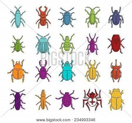 Bugs Icon Set. Color Outline Set Of Bugs Vector Icons For Web Design Isolated On White Background