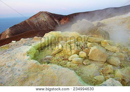 Gray Hydrogen Volcano And Volcano Craters On Vulcano Island, Lipari, Italy. Sunset, Gas, Sulfur, Poi