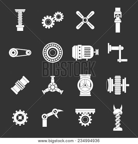 Techno Mechanisms Kit Icons Set Vector White Isolated On Grey Background