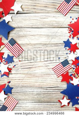 American Independence Day, Celebration, Patriotism And Holidays - Flags And Stars On The 4th Of July