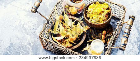 Basket With Medicinal Herbs