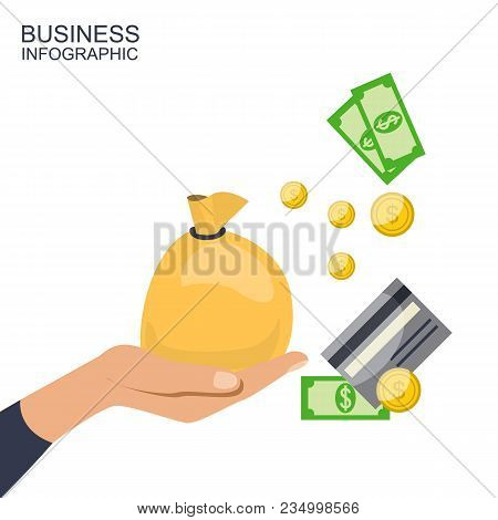 Big Stacked Pile Of Cash Money And Some Gold Coins. Hand Holds Bag With Money. Coin Falls. Flat Styl