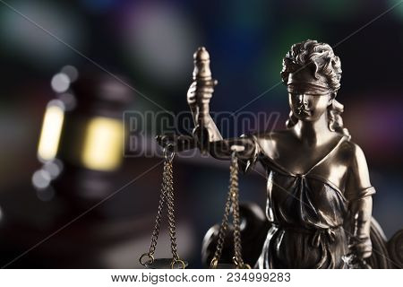 Law Theme. Blind Justice Symbol - Themis. Bokeh Background.