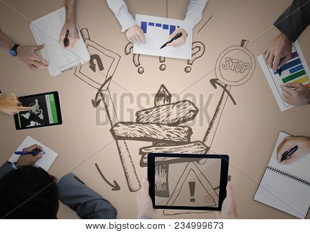 Overhead of business team with cream background and streetsign doodle