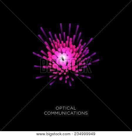 Optical Fiber Cable Logo. Optical Fiber Pink Color On A Dark Background.