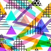 Seamless pattern Geometric elements Memphis Postmodern Retro fashion style 80-90s. texture shapes triangle grey blue lilac orange green pink for site fabric on white background. Vector illustration poster
