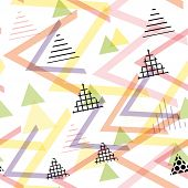 Seamless pattern Geometric elements Memphis Postmodern Retro fashion style 80-90s. texture shapes triangle black lilac pink orange green for site fabric on white background. Vector illustration poster