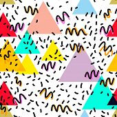 Geometric Memphis Postmodern Retro fashion style 80-90s. texture asymmetrical shapes triangle Seamless pattern isolated on white Yellow black blue pink red lilac background for site fabric. Vector illustration poster