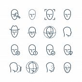 Face recognition line icons. Faces biometrics detection, facial scanning and unlock system vector pictograms. Facial scan, face biometric identification illustration poster