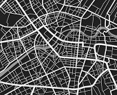 Black and white travel city map. Urban transport roads vector cartography background. City road background, cartography downtown, urban town navigation illustration poster