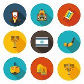 set of flat icons Judaism in vector format poster