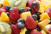 "fruit salad ""fruit salad"" close-up fresh food strawberryblueberry pineapple orange apple kiwi fruit mango apple grapes watermelon melon honeydew dessert ""food and drink"" healthy eating nutritious cut sliced prepared natural poster"