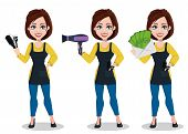 Hairdresser woman in professional uniform, set of three poses. Beautiful lady stylist cartoon character holds comb and scissors, holds hairdryer and holds envelope with money. Vector illustration poster
