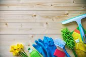 Cleaning concept. Housecleaning, hygiene, spring, chores, cleaning, cleaning supplies poster