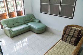 The Wooden Furniture And Window In Living Room.