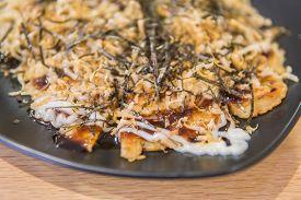 Okonomiyaki Kansai Style ,japanese Savory Pancake Or Known As Japanese Pizza This Dish Can Easy To M