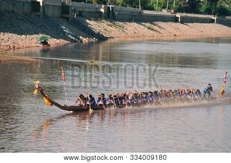 Nan, Thailand - October 27,2019 : King Of Nagas Long Boat Racing Festival , This Event Has Been The