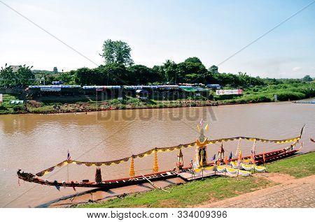 Nan, Thailand - October 27,2019 : King Of Naga Long Boat Racing Festival, The Long Boats Used During