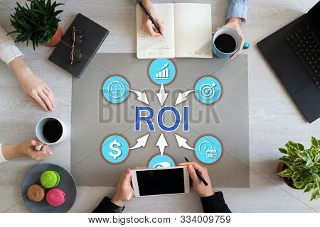 Return On Investment Roi Business Finance Concept Trading.