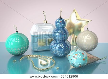 3D Illustration Of Christmas Tree Round Toy With Snow Flakes Design