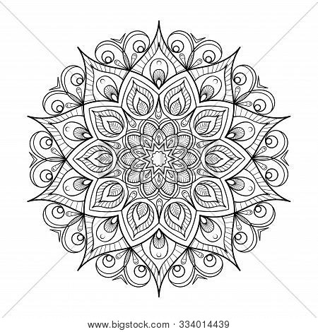 Round Flower Mandala. Black And White Coloring, Tatoo. Vector