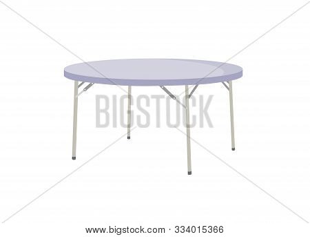Foldable Round Table Isolated On White Background.