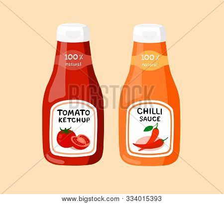 Tomato Ketchup And Chilli Sauce Isolated On Cream Background. Tomato Ketchup And Chilli Sauc Suitabl