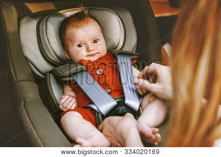 Cute Baby In Safety Car Seat Family Road Trip Vacations Lifestyle Childcare Kids Transportation Rear