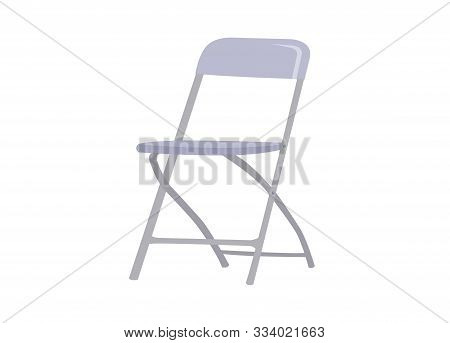Steel Foldable Chair Isolated On White Background.