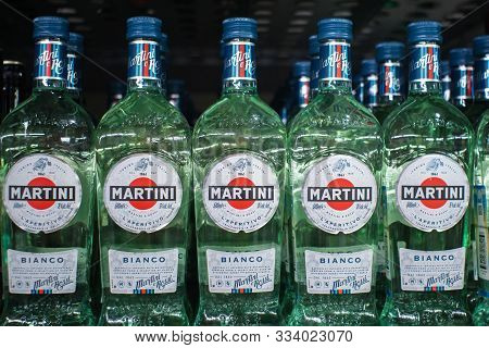 Tyumen, Russia-november 05, 2019: Bottles Of Various Types Of Martini Bianco Vermouth On Store Shelv
